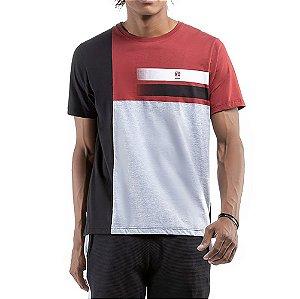 Camiseta C/ Estampa No Stress Vermelha C/ Preta