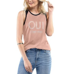 Blusa Regata C/ Estampa e Aplique Ouilavie Rosa