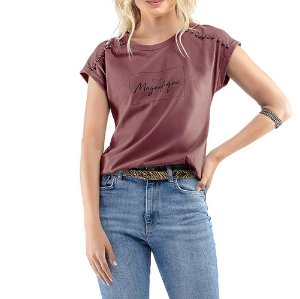 Blusa C/ Estampa e Aplique Ouilavie Bordo