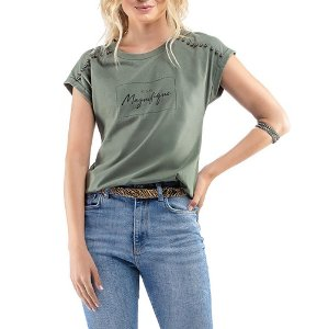 Blusa C/ Estampa e Aplique Ouilavie Verde