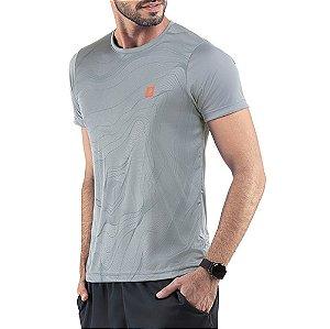 Camiseta Esportiva C/ Estampa Cinza