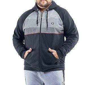 Jaqueta c/ capuz bolsos estampa e aplique Moletom Deluxe No Stress Plus Cinza Escuro/Cinza