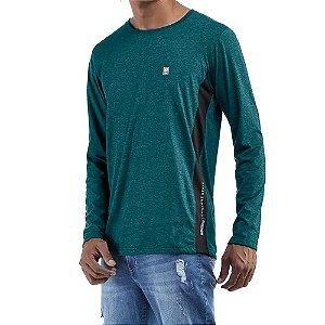 Camiseta c/ estampa e aplique Essence / Meia Malha No Stress Mescla Verde/Preto