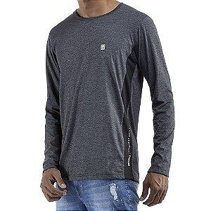 Camiseta c/ estampa e aplique Essence / Meia Malha No Stress Mescla Cinza Escuro/Preto