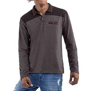 Camisa gola polo em retilinea c/ bolso falso e plaquinha Abertura Lateral Meia Malha/Essence No Stress Preto/Mescla Cinza Escuro