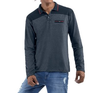 Camisa gola polo em retilinea c/ bolso falso e plaquinha Abertura Lateral Meia Malha/Essence No Stress Azul/Mescla Azul