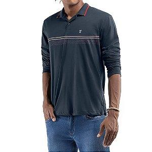Camisa gola polo em retilinea c/ estampas Meia Malha Abertura Lateral No Stress Azul