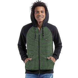 Jaqueta c/ capuz bolsos e plaquinha Moletom Reality/Moletom Deluxe No Stress Verde Preto