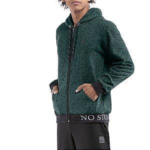 Jaqueta c/ capuz bolsos estampa e aplique Moletom Double No Stress Mescla Verde