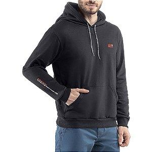 Blusao c/ capuz bolso estampa e bordado Moletom Classico TZE Preto