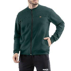 Jaqueta c/ bolsos e aplique Moletom Classico TZE Verde