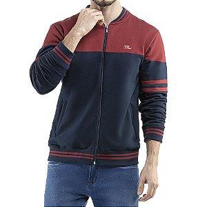 Jaqueta c/ gola em retilinea bolsos e bordado Moletom Classico TZE Azul Marinho/Vermelho