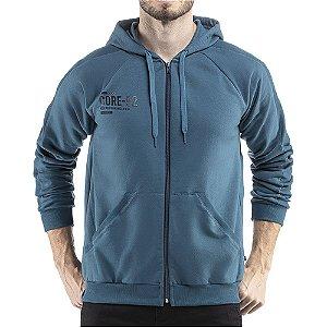 Jaqueta c/ capuz bolsos e estampa Moletom Classico TZE Azul