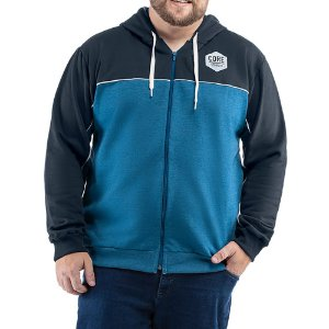 Jaqueta c/ capuz bolsos e estampa Moletom Classico TZE Plus Azul Marinho/Mescla Azul