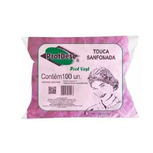 Touca Descartavel Rosa Com 100 Un