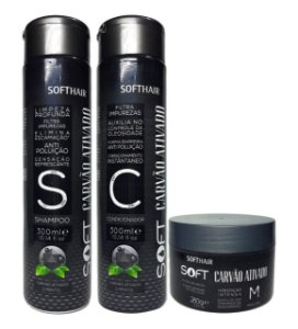 Soft Hair Kit Carvão  Ativado Shampoo Condicionador e Máscara