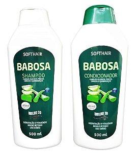 SoftHair Shampoo e Condicionador Linha Babosa Brilho Intenso 3D