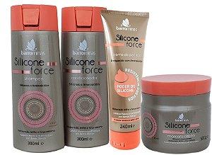 Barrominas Silicone Force Restauração Brilho e Força kit Completo