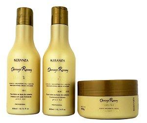 Demage Recovery Efeito Teia Kit Shampoo Condicionador e Máscara Keranza