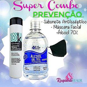 Combo Proteção Álcool Gel 70 Máscara Facial Lavável e Sabonete Antisséptico
