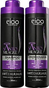 Kit Eico Shampoo + Condicionador Santo Milagre Renovação Dos Fios 800ml