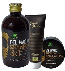 Kit Del Macho Tratamento Masculino Hábito Cosméticos 3 Itens