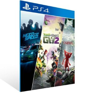 Need for Speed + Plants vs Zombie 2 + Unravel - Ps4 Psn Mídia Digital