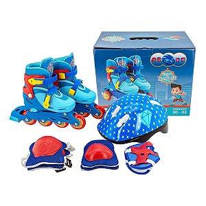 Patins Inline Roller Infantil Ajustável 30-33 + Kit de Proteção Azul Unitoys