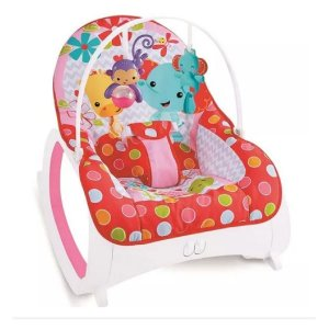 Cadeira de Descanso Musical para Bebê Safari Vermelha e Rosa
