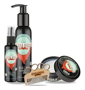 Kit Barba Cabelo e Estilo, Balm, Oleo e Cera para Barba