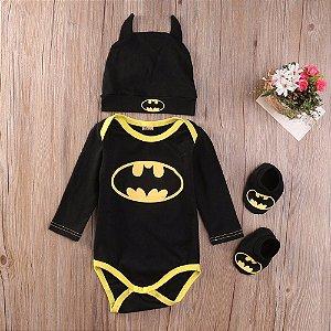 Body para Bebê Batman com Gorro e Sapato