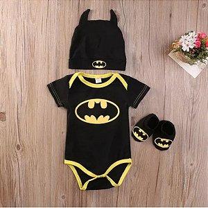 Body para Bebê Manga Curta Batman com Gorro e Sapato