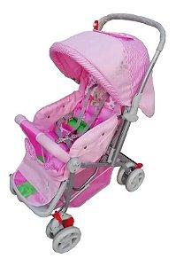 Carrinho de Bebê Passeio Confort com Alça Reversível Rosa