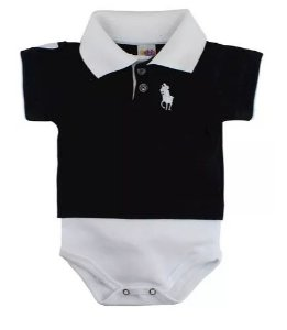 Body Polo para Bebê Manga Curta Preto