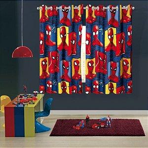 Cortina com ilhos Infantil Estampada Spider Man 1,50 m x 1,80 m Com 2 pecas
