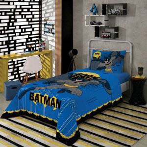 Jogo de Cama Solteiro Estampado Batman 1,50 m x 2,10 m Com 2 pecas