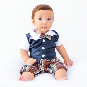 Macacão Social para Bebê Com Colete Batizado Festa Casamento