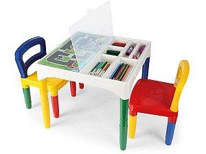 Mesinha Didática Infantil com 2 Cadeiras e Adesivos