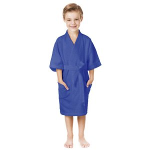 Roupao Confetti Felpudo Infantil Quimono Azul