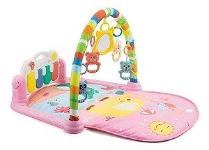 Tapete de Atividades para Bebê Musical Piano Alegria Rosa