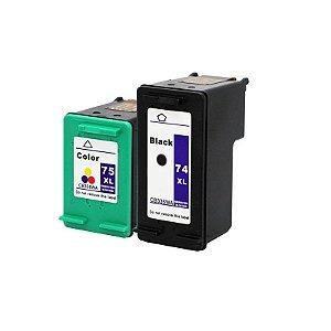 Kit Cartucho Compatível HP 74XL Preto e HP 75XL Colorido D4260 J5780 C4280