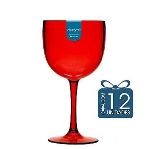12 Taças de Gin 580 Ml Vermelha translúcida