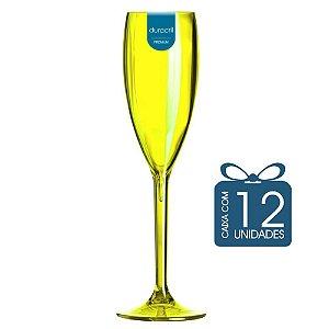 12 Taças Champagne 160 ml Amarela Neon