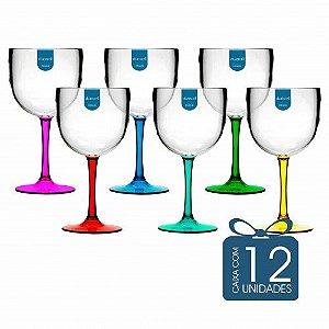 12 Taças de Gin Bicolor 580 Ml Coloridas