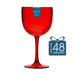 48 Taças de Gin 580 Ml Vermelha Translúcido
