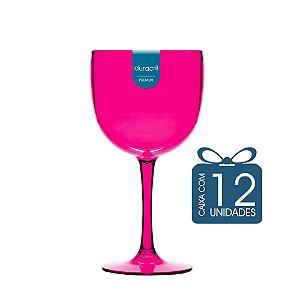 12 Taças de Gin 450 Ml Rosa Translúcido
