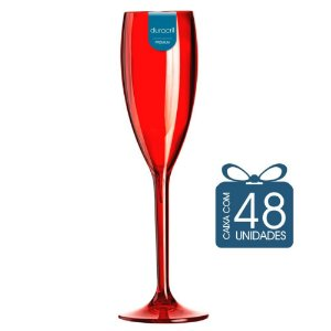 48 Taças Champagne 160 ml Vermelha Translúcida