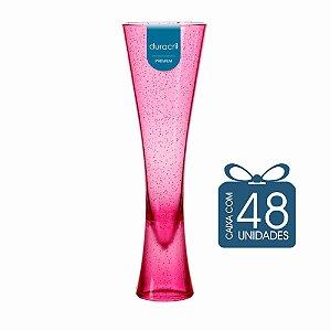 48 Taças Paris 180 ml Rosa Translúcida com Glitter