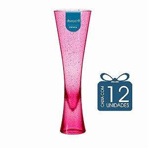 12 Taças Paris 180 ml Rosa Translúcida com Glitter