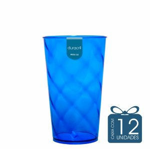 12 Copos Twister 500 ml Azul Escuro Translúcido